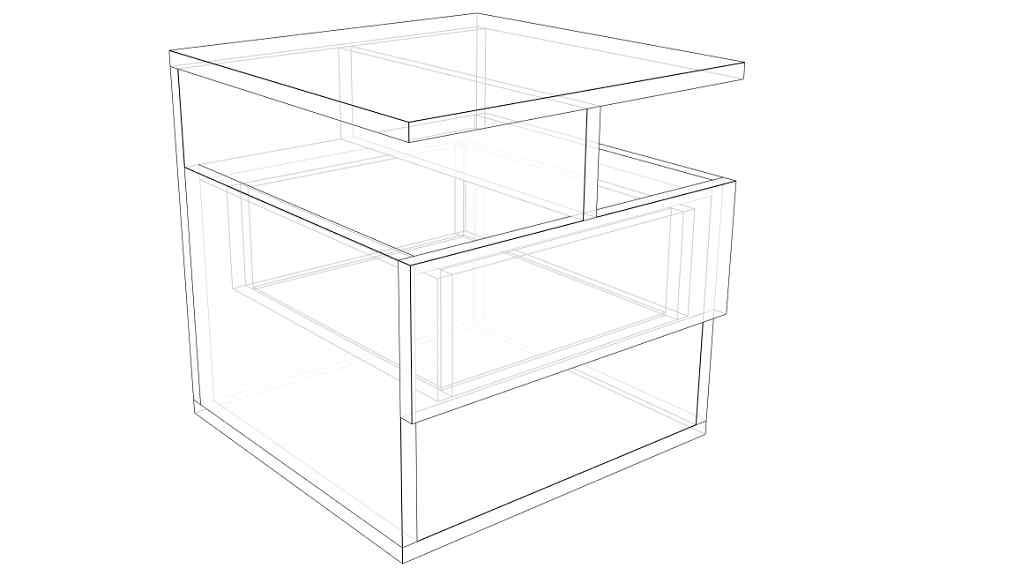 Boceto en 3d de mesa de luz con un cajón